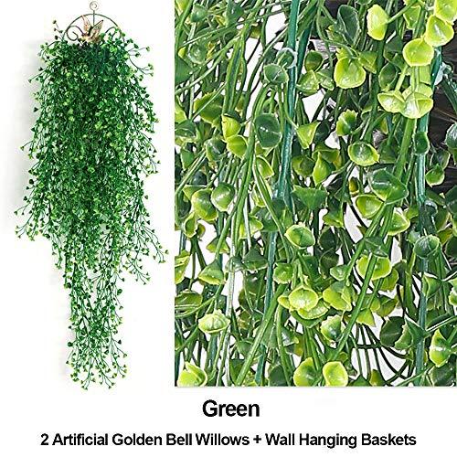 Artificial Golden Bell Willow 2 Bundles + Wall Hanging Basket Jungle Party Supplies Artificial Greenery Garland Faux Foliage Flowers Home Kitchen Garden Office Wedding Wall Decor (Green)