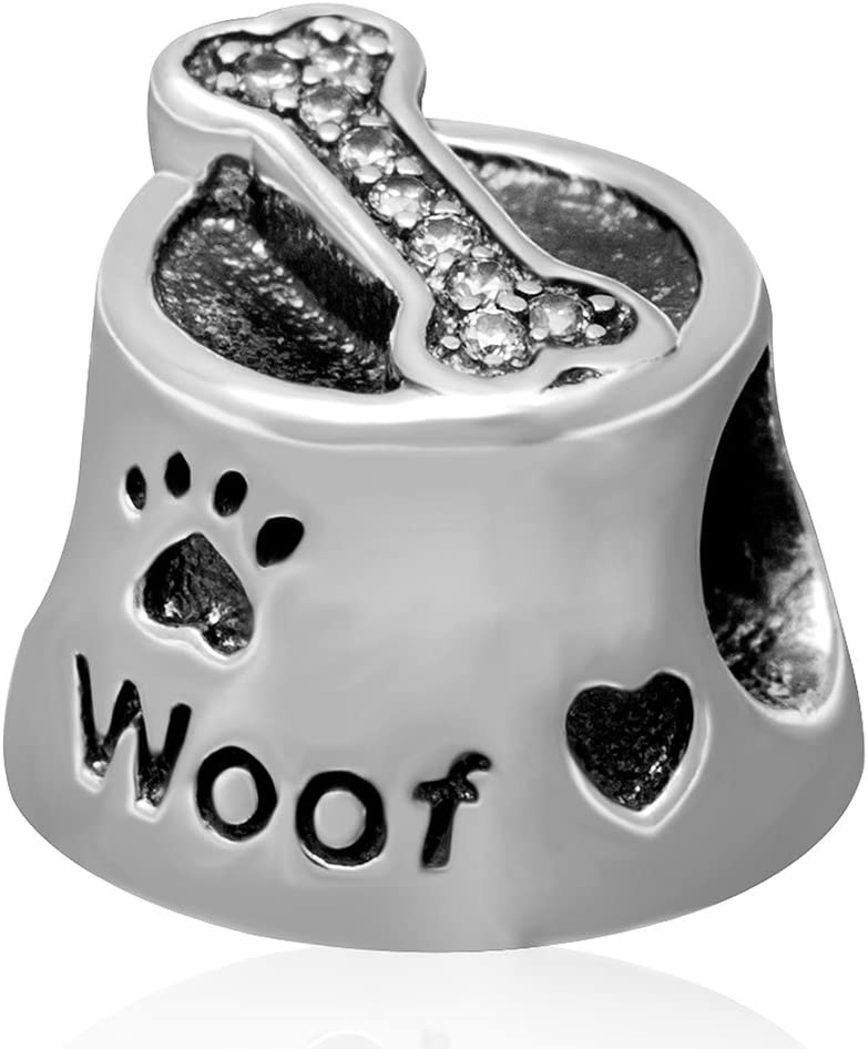 Animal Charm Beads 925 Sterling Silver Charm for Bracelets Christmas Gifts for Family Birthday (Dog Food Bowl Charm)