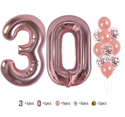 40 Rose Gold Number 30 Foil Mylar Balloons Set 30th Birthday Party Decorations