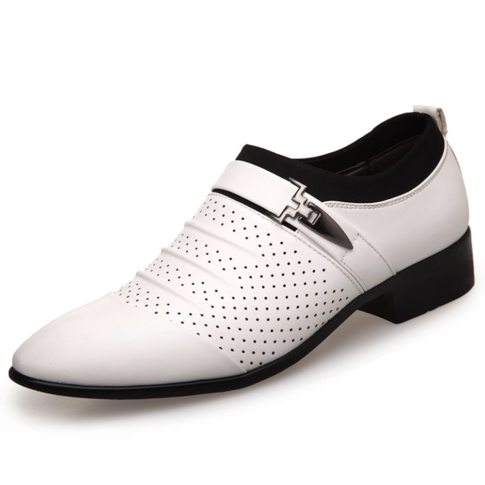 YING LAN Men's Casual Dress Pointed Toe Formal Business Wedding Shoes Breathable Hole Oxfords White