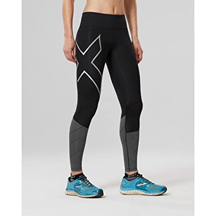 d3dc146776e501 2XU Womens mid-Rise Reflect Compression Tights, Black/Silver Reflective,  Large