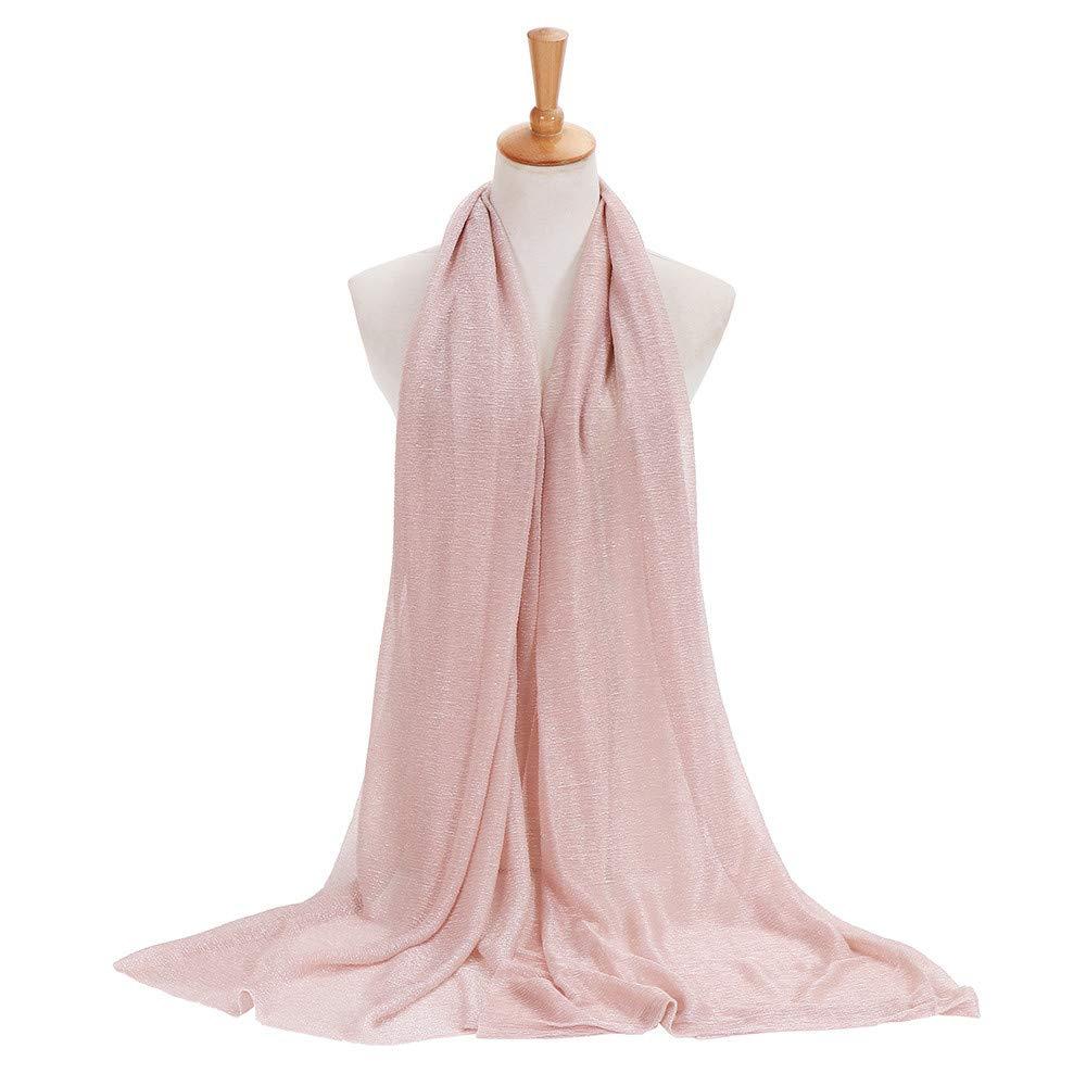 1ecb487922 Femme Echarpes et foulards Rovinci Mode Femmes Couleur Unie Fil dor Plier  de Plein Air Longue Doux Emballage ...