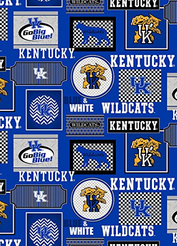 Kentucky Wildcats Fabric - KENTUCKY WILDCATS PATCHWORK COTTON FABRIC ALL OVER PATTERN-UNIVERSITY OF KENTUCKY COTTON PRINTED FABRIC-NEWEST DESIGN-SOLD BY THE YARD