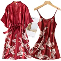 Sexy Nachthemd Voor Dames,2 Stks Satijn Zachte Rayon Nachtkleding Rood Nachthemd Kimono Sleepshirts Losse Casual Hemdje…