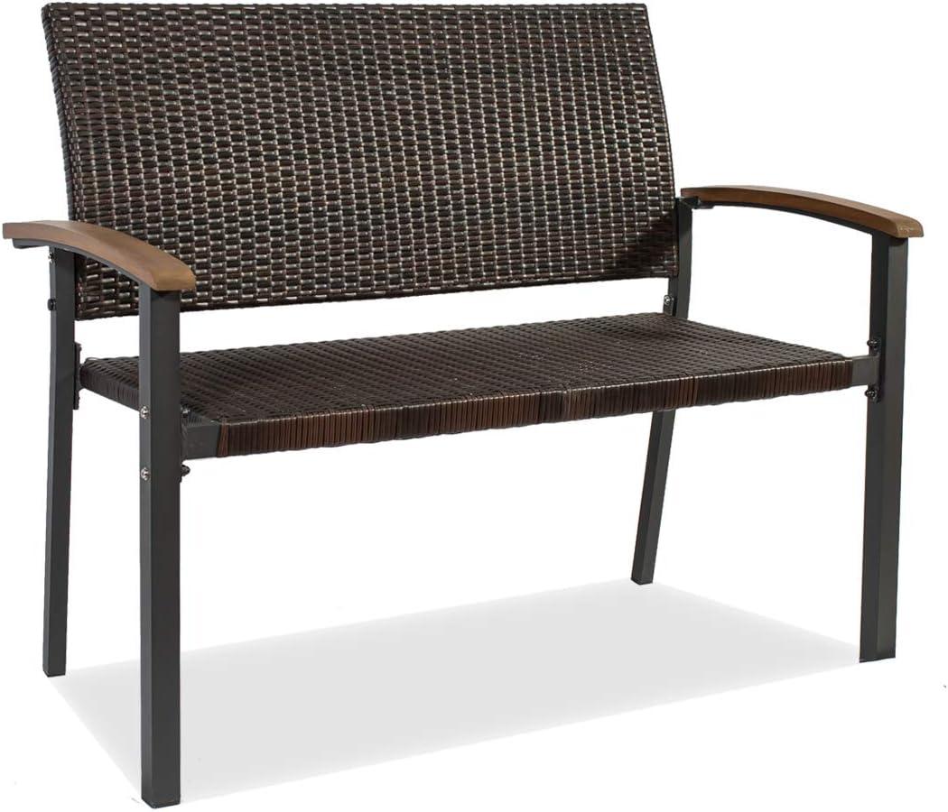 Outdoor Bench Wicker Bench Garden Bench Patio Bench Metal Frame Outdoor Seating Furniture for Park Porch Yard Deck, Brown Black Rattan