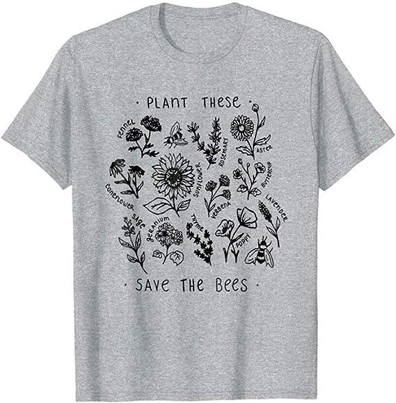 Grea Planta Harajuku Camiseta Mujeres Causal Salvar Las Abejas ...