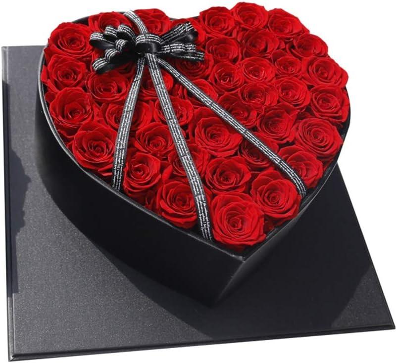 彼女の誕生日記念日のためにハート形の永遠の花のギフトボックスWeddiingパーティーデコレーションボックス 誕生日プレゼント永遠の花 (色 : 赤, サイズ : 35x35cm)