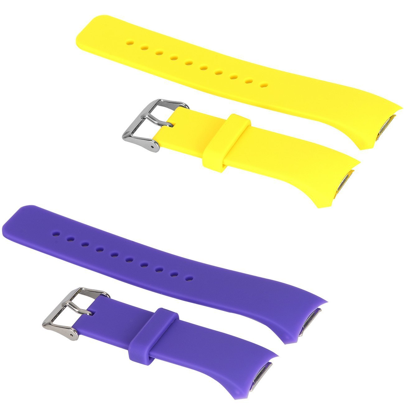 2pcs Large Bands for Gear Fit2 Pro Watch, Replacement Soft Silicone Bands Straps for Samsung Gear Fit2 Pro Smart Fitness Band and Samsung Gear Fit2 Smartwatch : Purple+Yellow