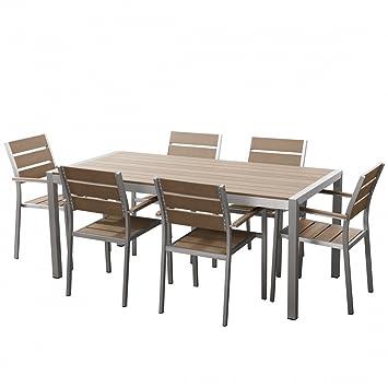 Aluminium Gartenmöbel Set Braun   Tisch 180cm   6 Stühle   Polywood   VERNIO