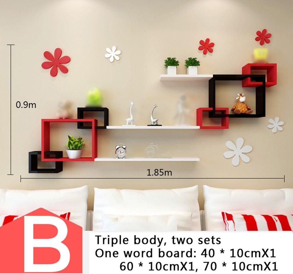 ウォールラック、パーティションリビングルームテレビの壁の壁掛け、装飾室のベッドルームの壁創造的な格子 ( 三 : D ) B076GTN8JX  D