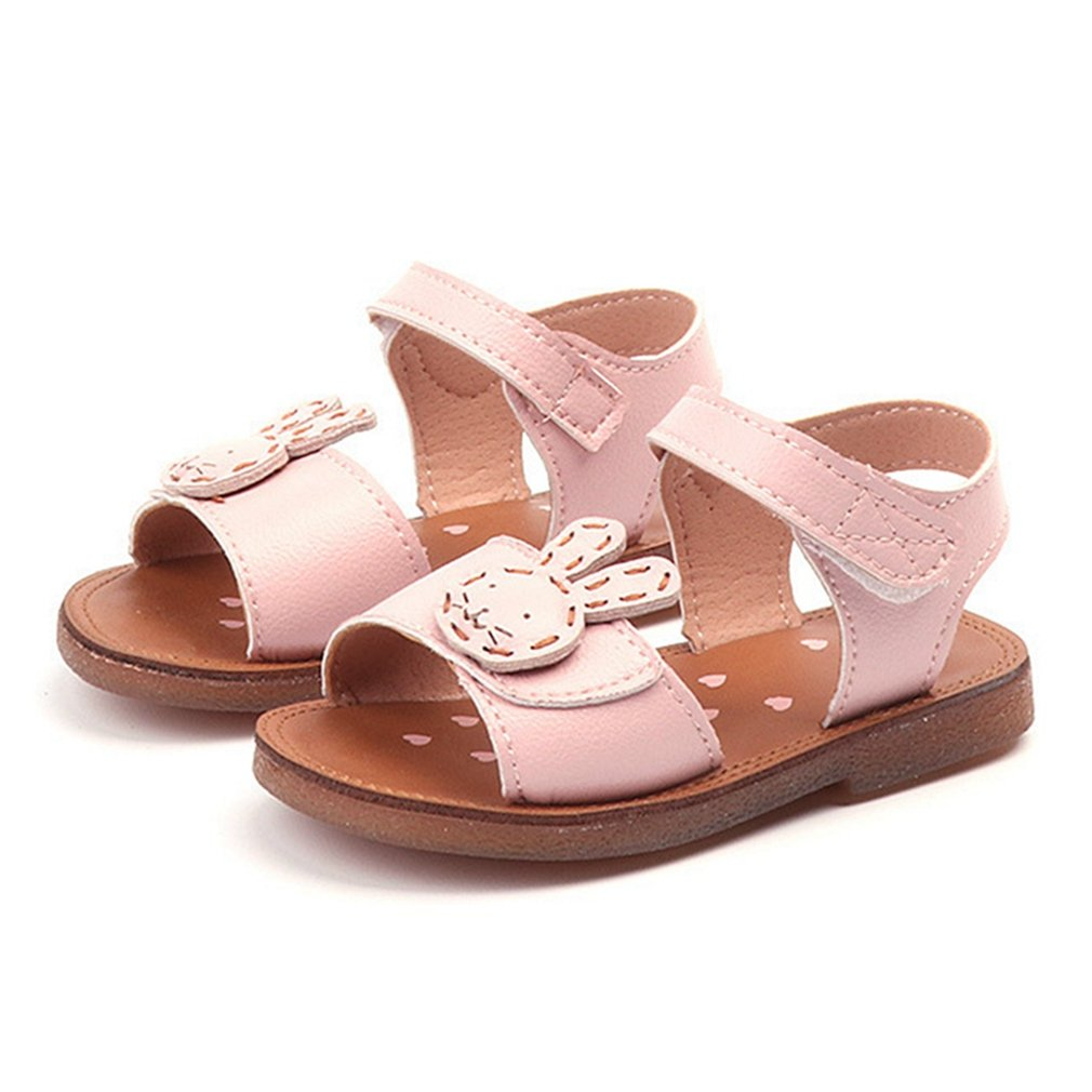CYBLING Baby Toddler Girl's Open Toe Strap Sandals Summer Flat Princess Shoes (Toddler/Little Kid)