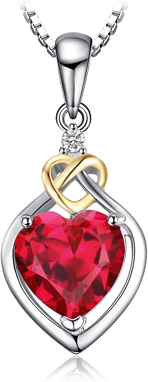 JewelryPalace Colgante Amor Corazón 2.5ct Creado Rubí Zafiro Aniversario Plata de ley 925