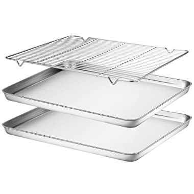 Baking Sheets Set of 3, HKJ Chef Baking Pans 3 Pieces & Stainless Steel Cookie Sheets & Toaster Oven Tray Pans, Non Toxic & Healthy, Mirror & Easy Clean (2x16inch with rack)