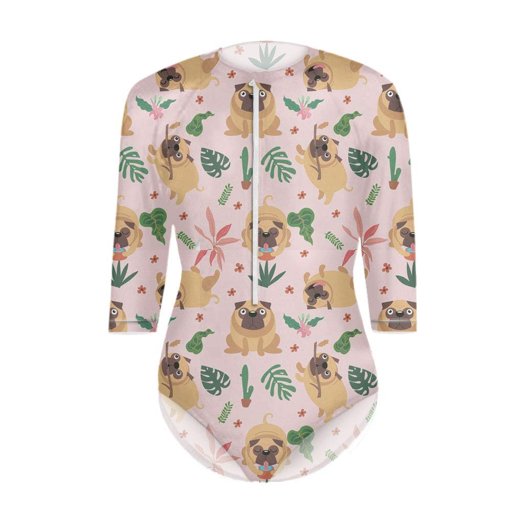 Coloranimal Summer Zip Front Printed 3//4 Sleeve Swimsuit One Piece Bathing Suit for Women