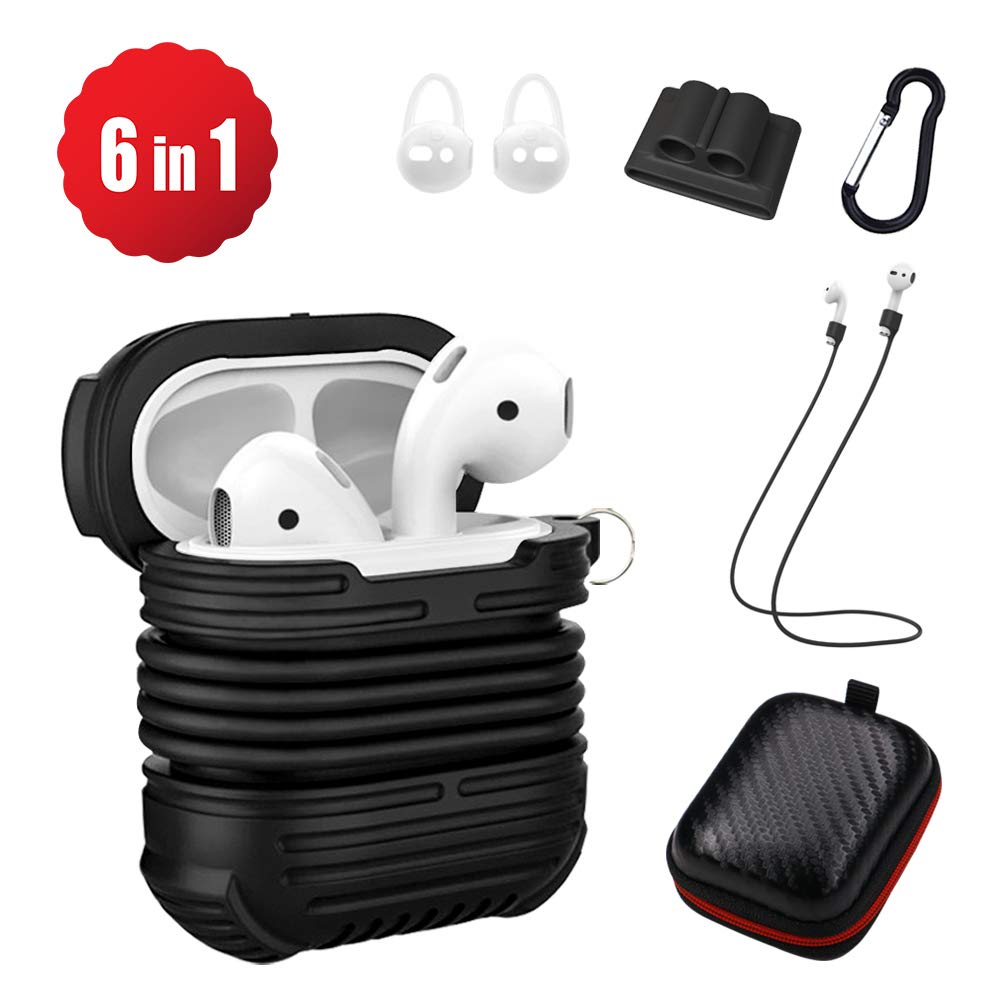 Rugged Airpod Protective Case Compatible for Apple, 6 in 1 Airpods Accessories kit Silicone Cover Skin with Carabiner Keychain, Anti Lost Strap, Ear Hook, Watch Band Holder, EVA Charging Case -Black