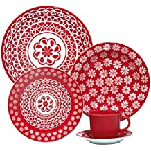 1 Aparelho de Jantar e Chá 20 Peças, Oxford Daily 005224, Branco/Vermelho