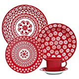 Oxford 20 Piece Red Lace Collection Daily Dinnerware Set