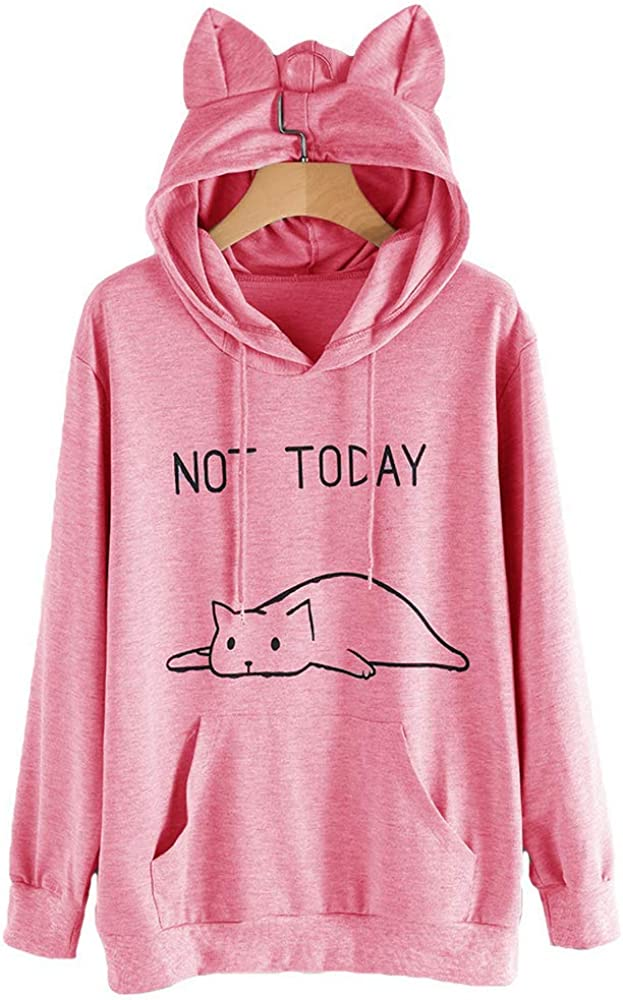 per ragazze Soweilan disegno di un gatto Felpa da donna a maniche lunghe con scritta in inglese Not today