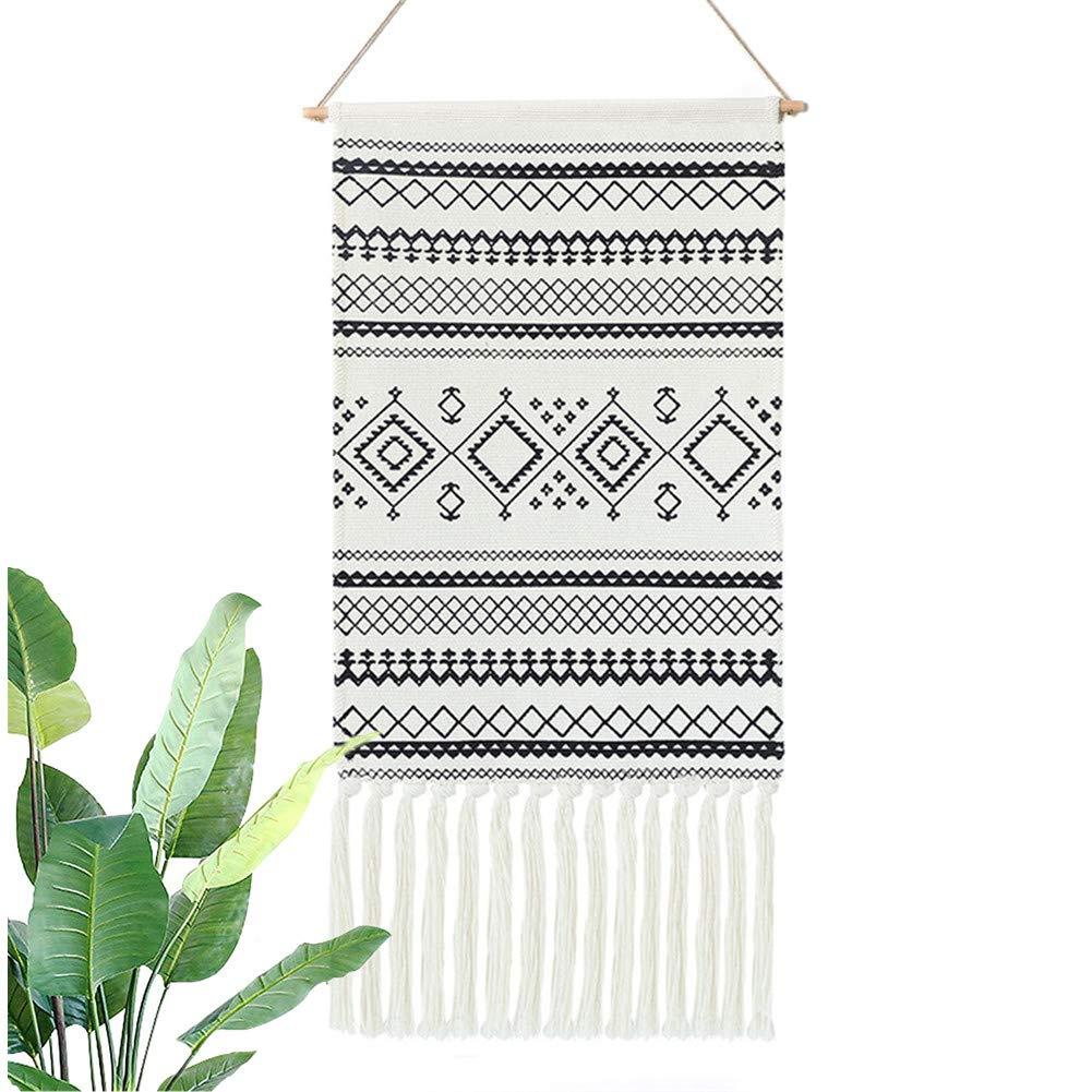 Dremisland Macrame Woven Wall Hanging Tapestry- Boho Chic Bohemian Home Decor Geometric Art Decor Boho Backdrop - Beautiful Apartment Dorm Room Door Decoration, 17.7'' W x 32'' L (Black Geometric)