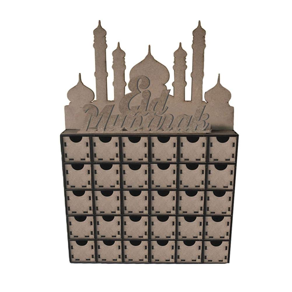Funarrow Wooden Eid Countdown DIY Drawers, Muslim Islam Eid Mubarak Decoration by Funarrow