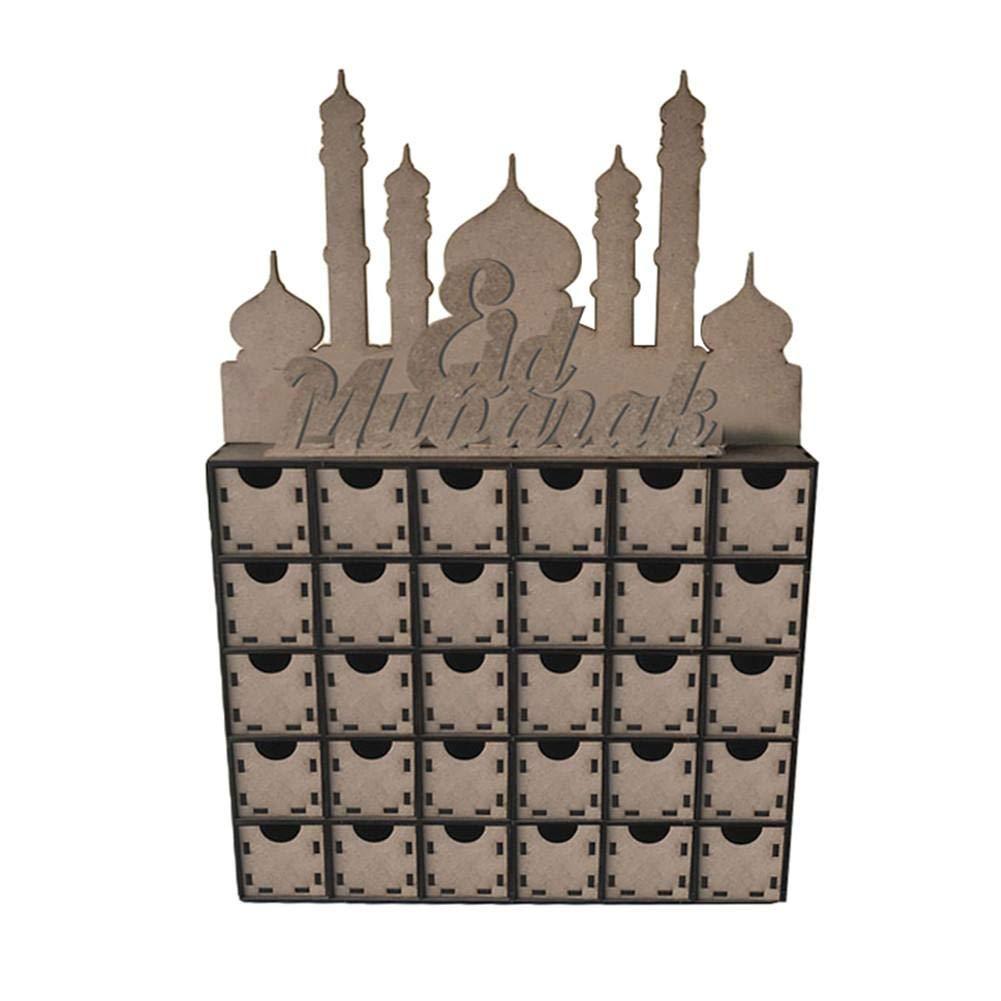 Funarrow Wooden Eid Countdown DIY Drawers, Muslim Islam Eid Mubarak Decoration