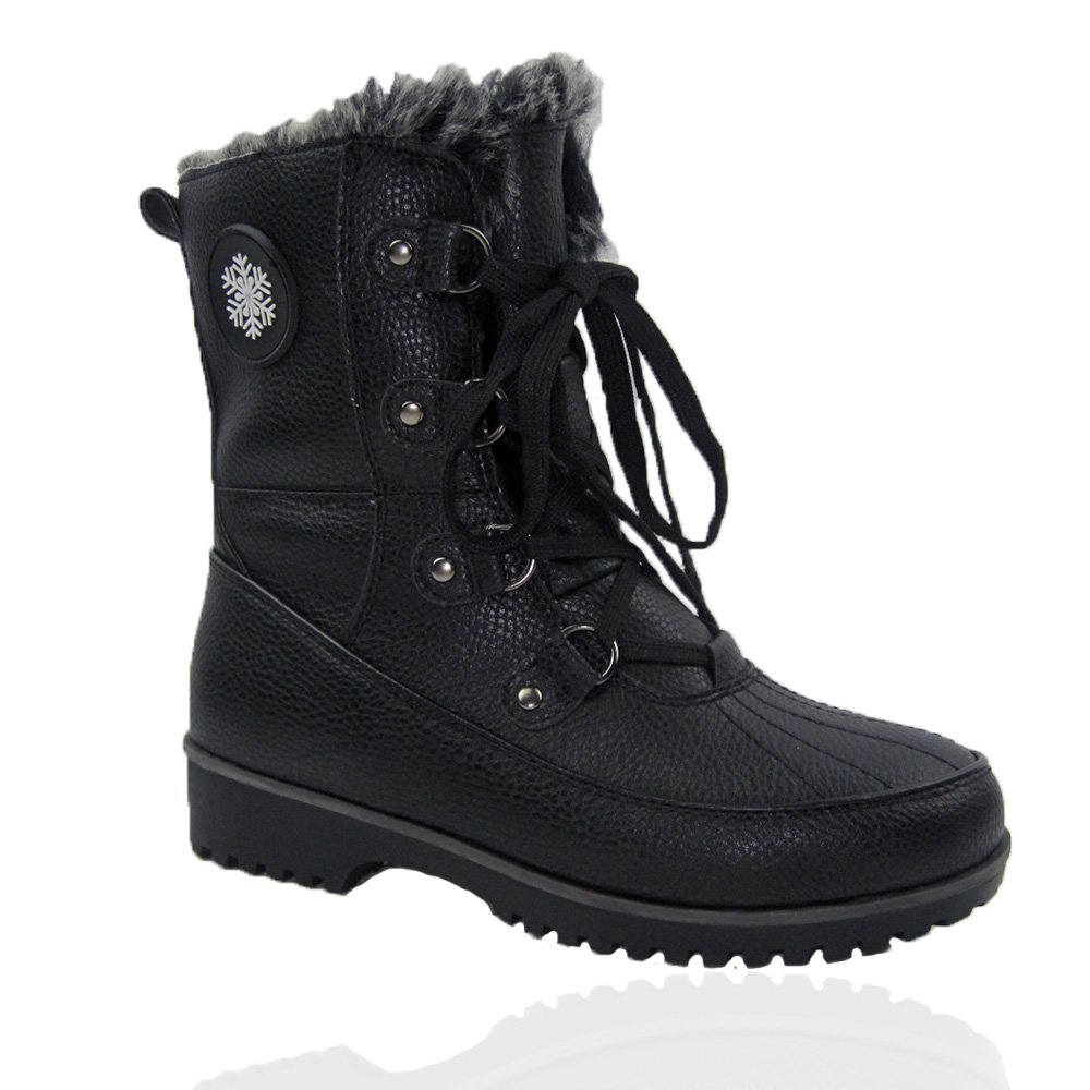 Black Comfy Moda Women's Winter Ice Snow Boots Cold Weather Faux Fur Full Lined Water Resistant Buffalo