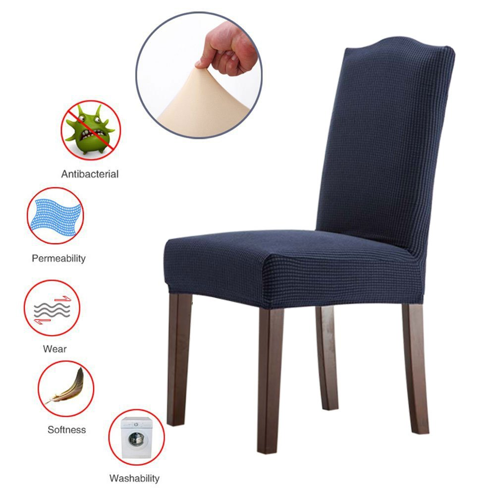 ColorBird Solid Color Knitted Fleece Dining Chair Slipcovers Removable Universal Stretch Elastic Chair Protector Covers for Dining Room Set of 6, Navy Blue Banquet Hotel Ceremony