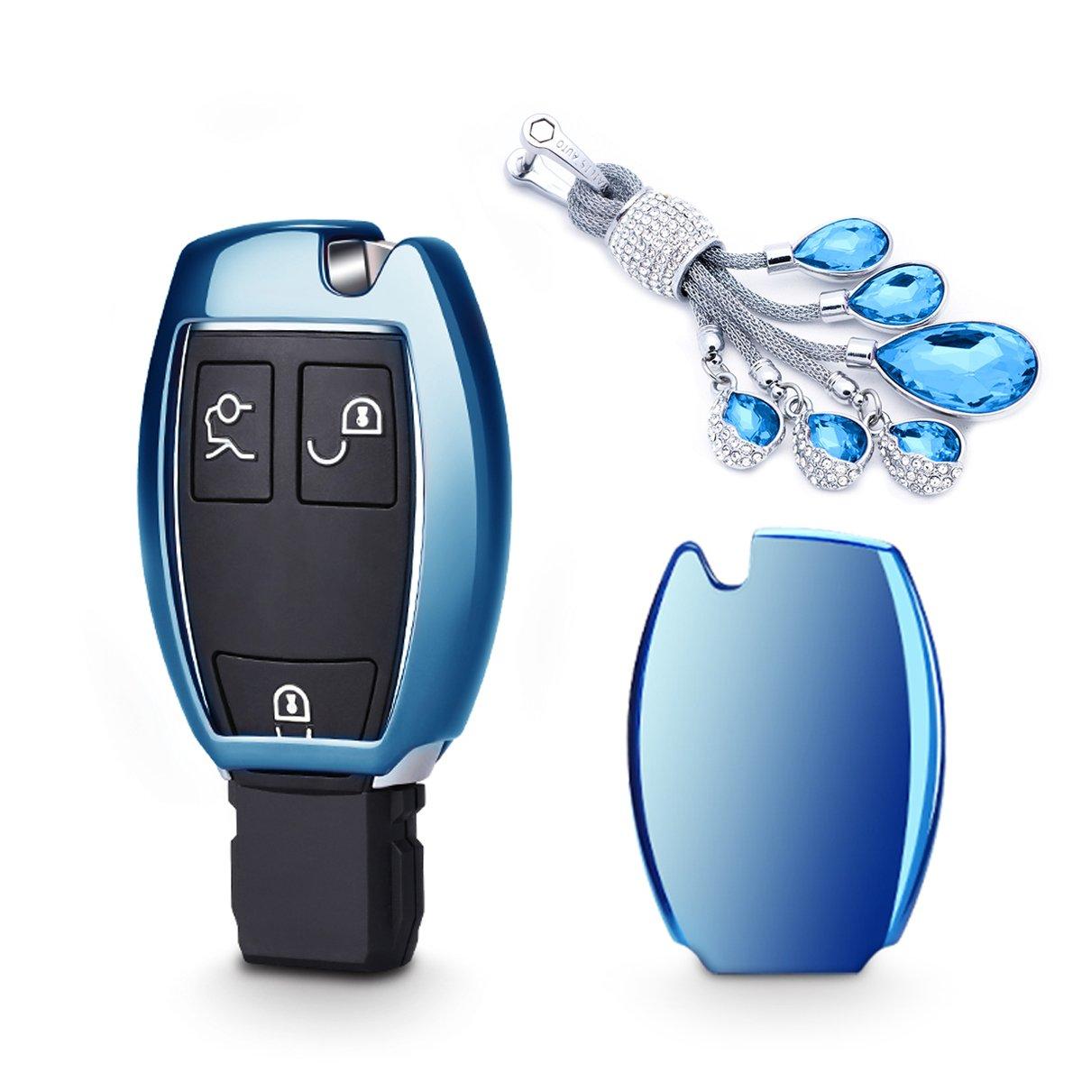 カイゼンキーレスエントリーリモートキーFobカバーソフトTPUケースwithダイヤモンドタッセルキーチェーンfor Mercedes Benz c200l glc260 glk300 gla200 2 /3-buttonsスマートキー key cover+tassel keychain ブルー TPUKC150 B07CN3VJP5  ブルー key cover+tassel keychain