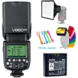 Godox V860II-N I-TTL GN60 2.4G High-Speed Sync 1/8000s Li-ion Battery Camera Flash Speedlite Light Compatible for Nikon Cameras +15x17cm Softbox & Filter +CONXTRUE USB LED
