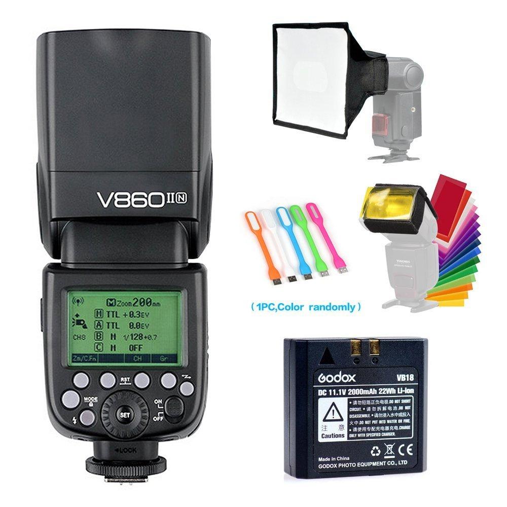 Godox V860II-N I-TTL GN60 2.4G High-Speed Sync 1/8000s Li-ion Battery Camera Flash Speedlite for Nikon Cameras +15x17cm Softbox & Filter +CONXTRUE USB LED Free Gift