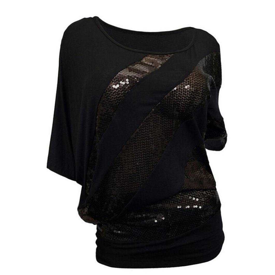 BCDshop Women Sequin Patchwork T-Shirt Cold Shoulder Blouse casuel Loose Top (Black, XXXL)