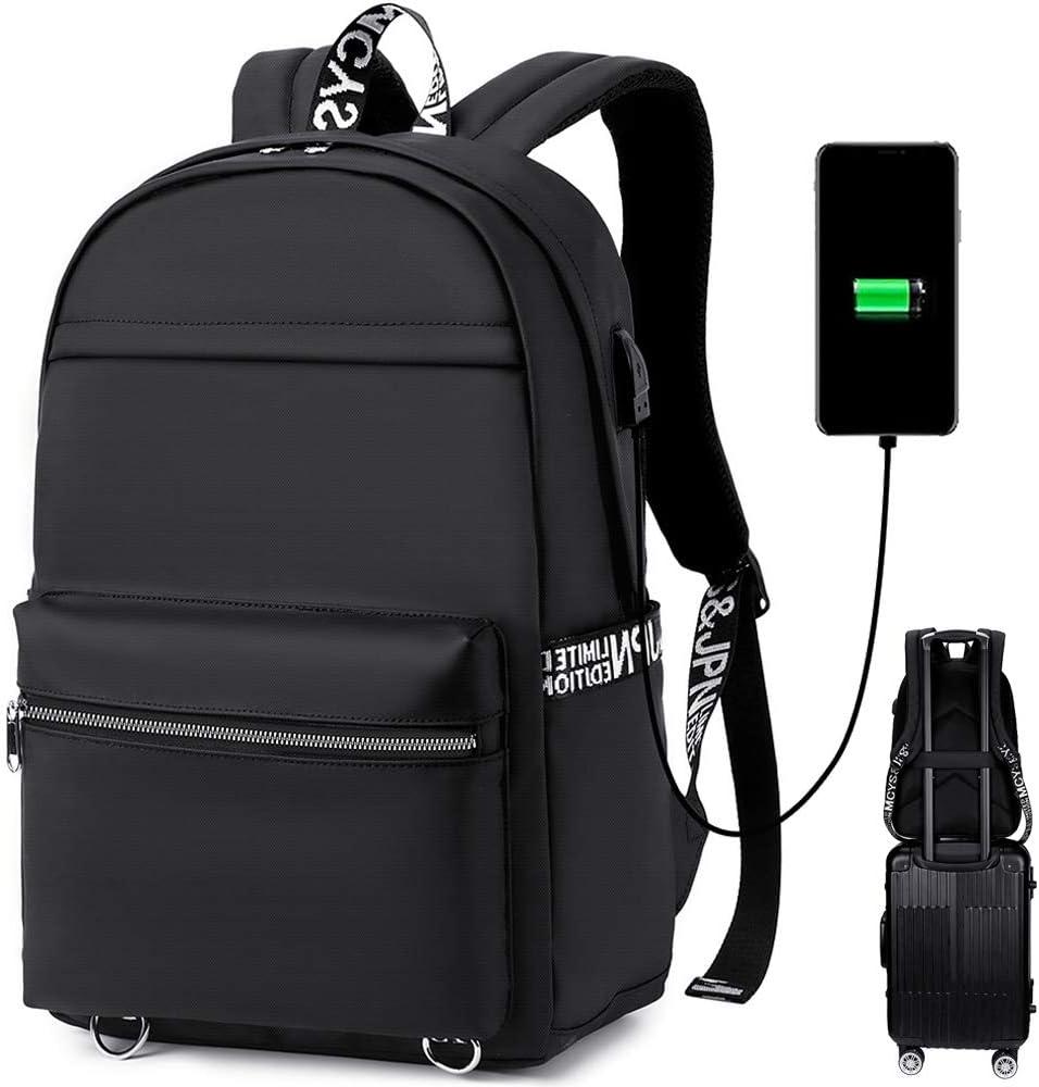 CAMTOP School Laptop Backpack Women Girls Bookbags 15 Inch USB Computer Bags for College Teacher Work Commuter (Black)