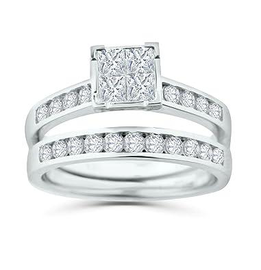 Amazon Com Diamond Bridal Set 10k White Gold Engagement Ring