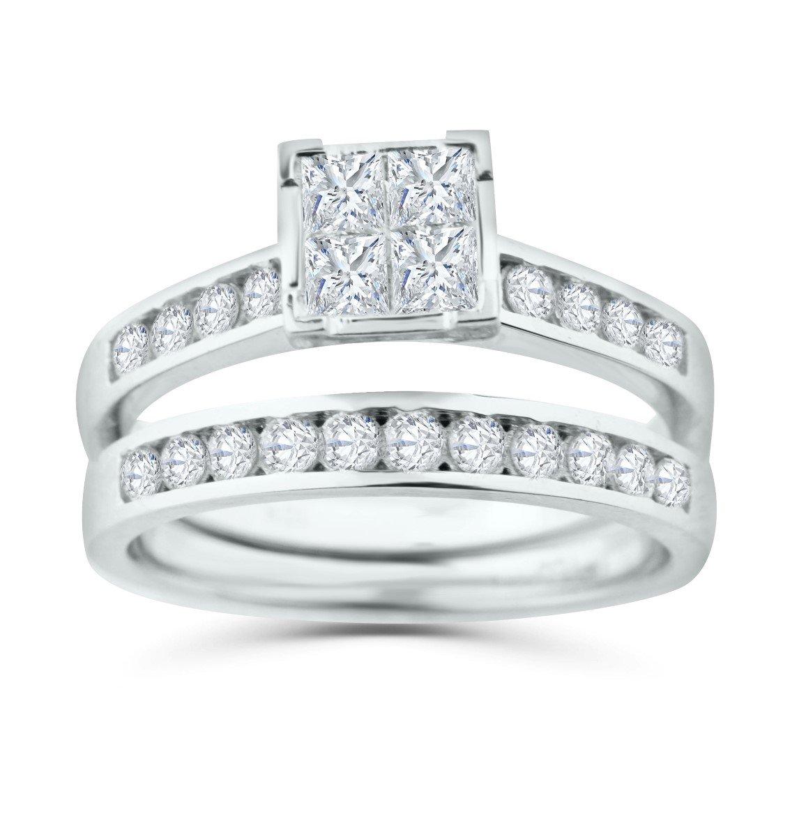 Diamond Bridal Set 10K Gold Engagement Ring / Wedding Ring Set Princess Cut White Gold 10k 2pc Set (1/2ctw, i2/i3, I/j) (white-gold, 10) (6)