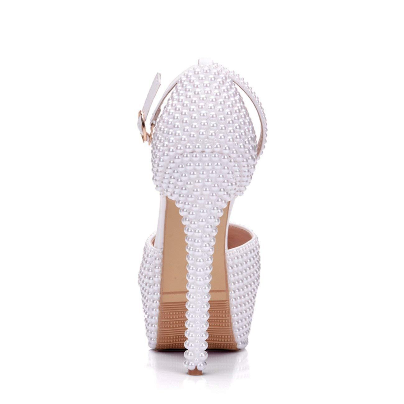 Qiusa Damen-versteckte Plattform-Knöchel-Bügel-Perle die weiße Brauthochzeits-Schuhe Großbritannien bördelt 6 6 6 (Farbe   - Größe   -) 2d4e7e