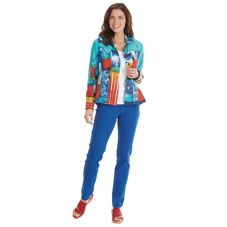 Parsley & Sage Women's Jacket - Multi-Color Cassie Mod Print Roll-Tab Sleeves - 1X
