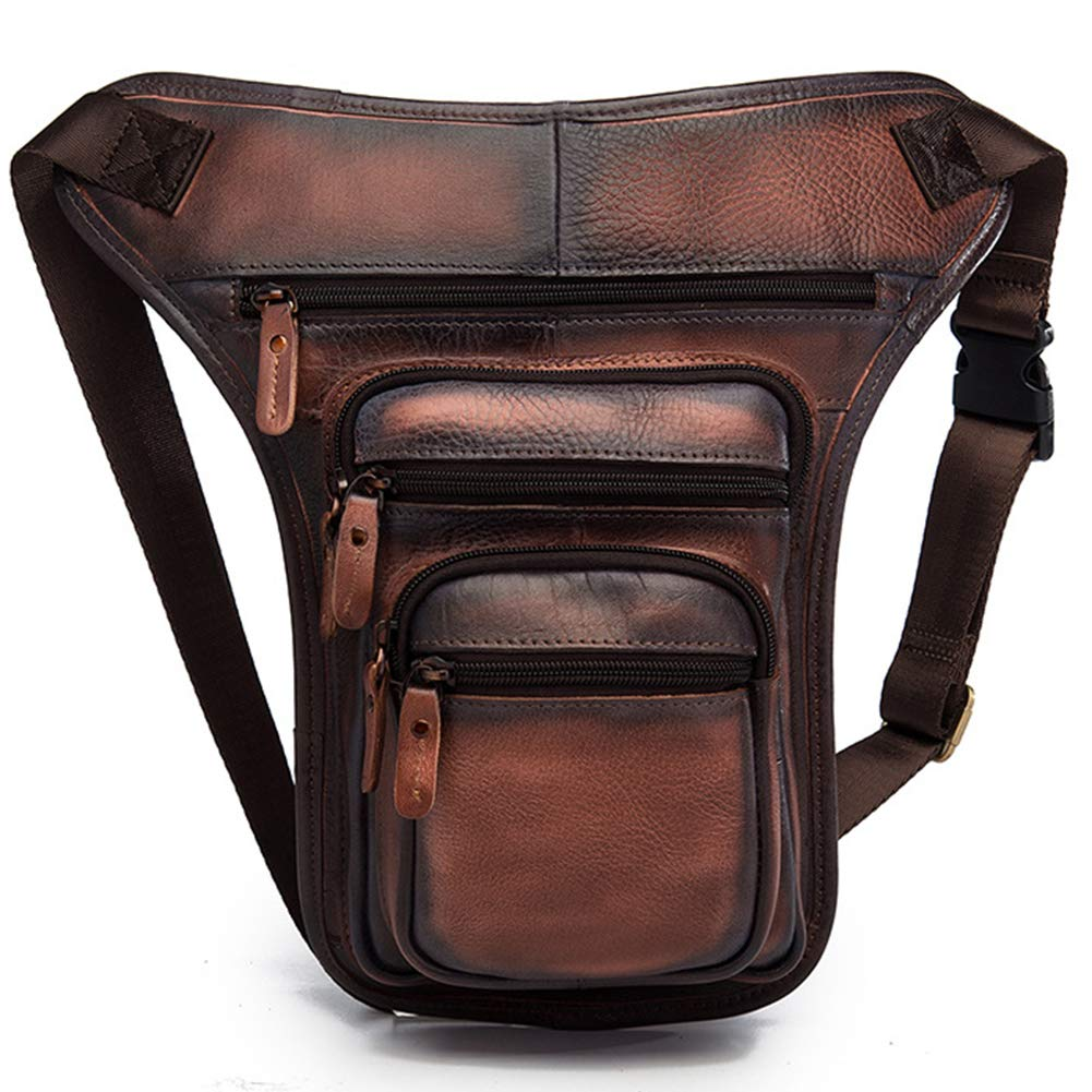 Brown color mixing-style 2 Retro Mens Multifunction Leather Waist Pack Casual Messenger bag drop leg bag 311