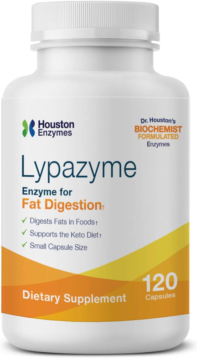 Houston Enzymes – Lypazyme – 120 Capsules – Professionally Formulated with 3 Different Lipase Enzymes – Supports Complete Breakdown of Triglyceride Fats – Excellent for High-Fat Diets