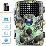 BanffCliff Trail Camera 16MP 1080P Hunting Cam w/32GB microSD Card, 46PCs IR LEDs 65FT Night Vision, 120° Wide Angle HD 0.2S Trigger Time 2.4 LCD Screen Waterproof Wildlife Outdoor Security Monitor