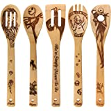 Halloween Idea Utensil Burned Wooden Spoons Set House Warming Wedding Present Slotted Spoon 5 Piece SpoonSet