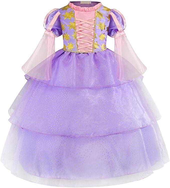 OwlFay Disfraz Rapunzel Niña Vestido de Princesa Sofia Tul Encaje ...