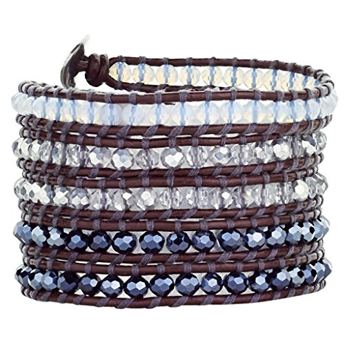 Babao Jewelry Sparkling Faceted Clear White Black AB Crystal Beads Leather 5 Wraps Bracelet by Babao Jewelry