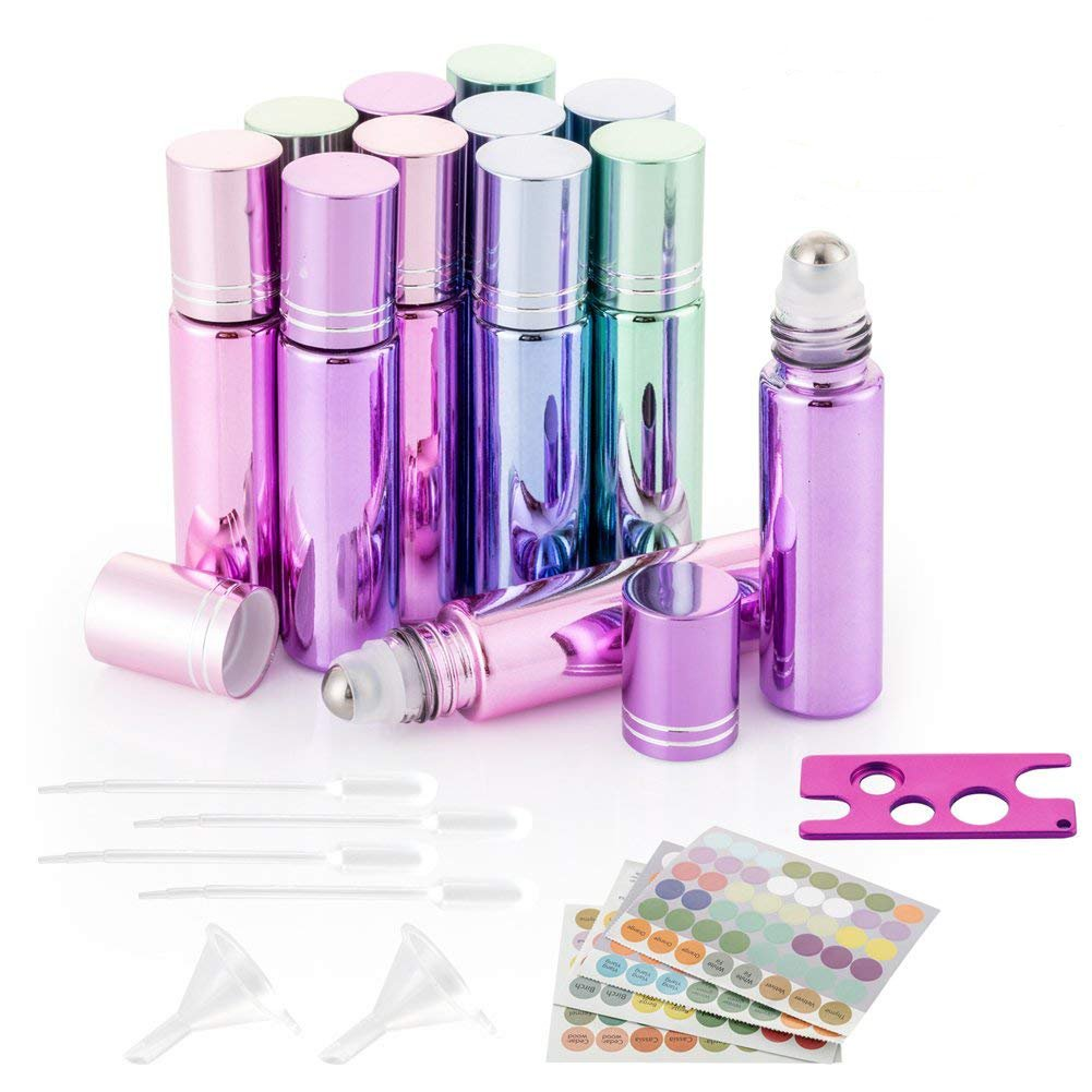 12Pcs Glass Roller on Bottles, 10ml Essential Oil Roller Bottles with Stainless Steel Roller Balls for Essential Oil, Perfume Oils with 4 Droppers, 2 Funnels, 1 Opener and 1 Sheet Labels Stickers