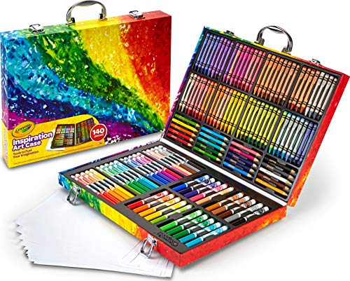 Crayola 140 Count Art Set, Rainbow Inspiration Art Case, Portable Art & Coloring Supplies, Gifts for Kids, Age 5, 6, 7, 8