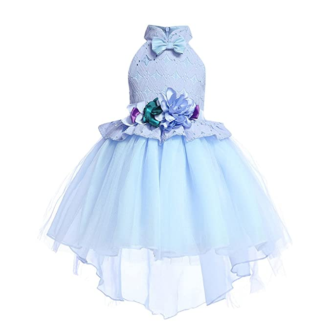 37386eeb41a7 K-youth Vestido de Flores Boda Niña Irregular Flores Encaje Bowknot Vestido  de Princesa Fiesta