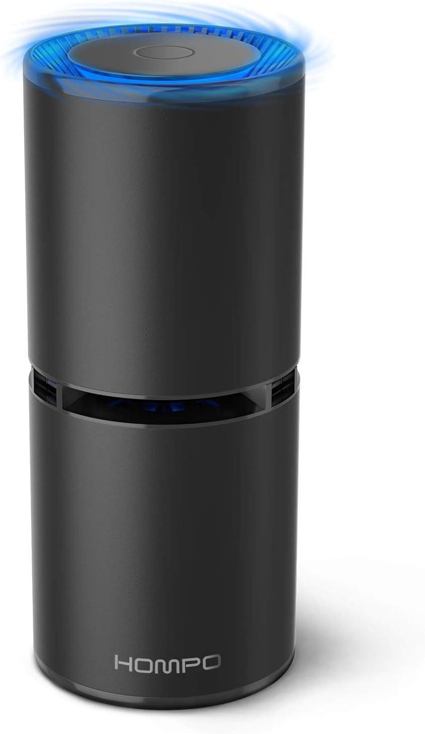 HOMPO Portátil Purificador de Aire - Filtro de Aire Ionizador Compacto Generador de Iones Negativos, sin Necesidad de Filtro, para Auto hogar Oficina Eliminar el Humo Polvo PM2,5 alergias gérmenes
