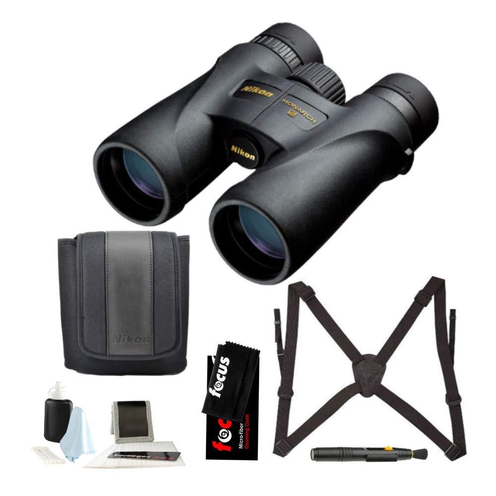 Nikon 7577 Monarch 5 10x42 Waterproof/Fogproof Roof Prism Binoculars Bundle Lens Pen & Essential Accessories (5 Items) by Nikon