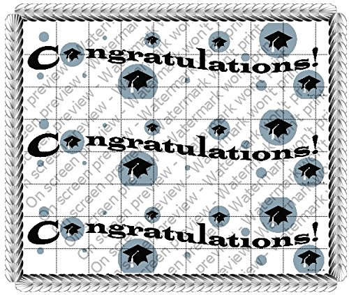 Congratulations Graduation Licensed Image Birthday - Designer Strips - Edible Icing Sheet Side Strips - (Graduation Icing)
