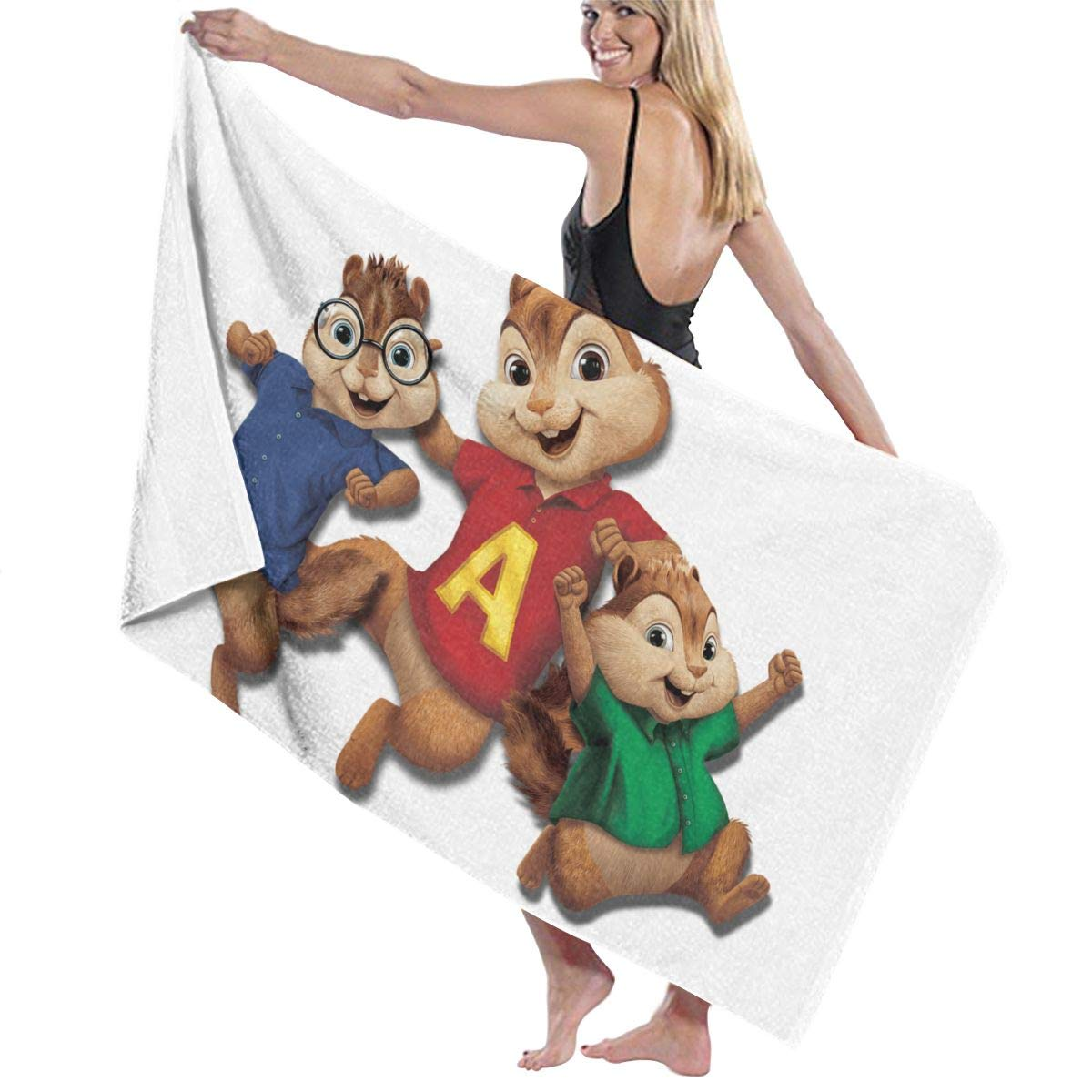 Zachary Sherman Alvin And The Chipmunks Happy Teli Bagno Teli Mare Telo Doccia Telo da Bagno Antibatterico Assorbente Morbido di Alta qualit/à 130X80CM