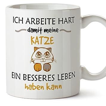 MUGFFINS Gato Taza con Decir en alemán - Taza de café/Taza de té: Amazon.es: Hogar